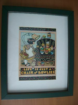"""Mary Engelbreit Print Picture Framed & Matted """"Life Is Just A Chair Of Bowlies"""""""