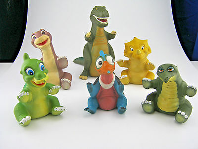 1988 COMPLETE Set 6 Land Before Time soft rubber Hand Puppets from Pizza Hut VTG
