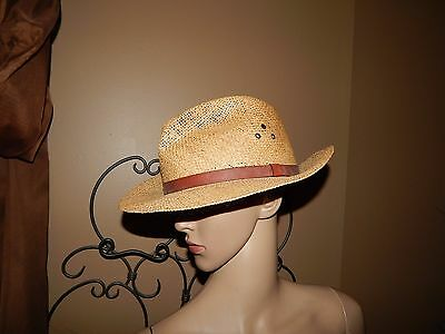 COUNTRY GENTLEMAN L Straw Hat w Leather Band -  12.95  a88eea84b32