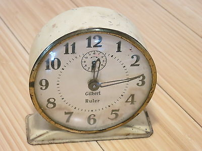 1940's Gilbert 'Ruler' Alarm Clock Partially Working for parts or repair