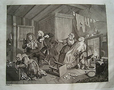 William Hogarth Werdegang der Dirne 5 Sex  Prostituierte alter Kupferstich 1800