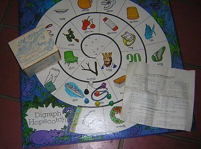 Collect 1975Board Game Digraph Hopscotch Phonics 2-6 Players Gr 1-3 Hm School G