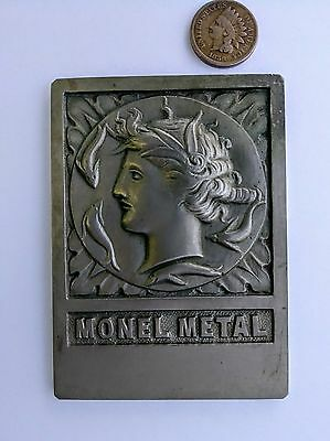 Antique Monel Metal Advertising Plaque