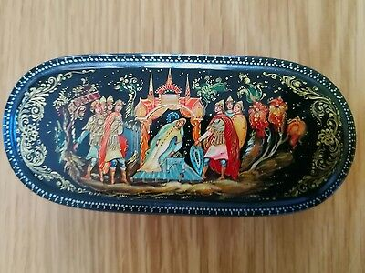 Russian Lacquer Oval Decorated Box Signed