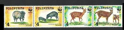Philippines WWF Spotted Deer and Warty Pig Strip of 4v SG#2992/95 SC#2476-79
