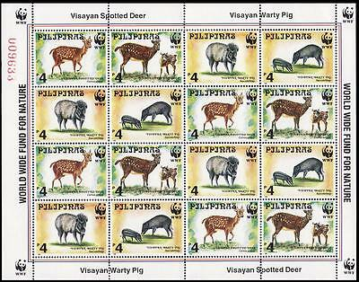 Philippines WWF Spotted Deer and Warty Pig Sheetlet of 4 sets SG#2992/95