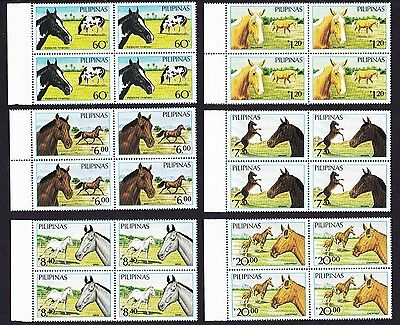 Philippines Horses 6v in Blocks of Four with selvages SG#1898/903 SC#1747A-47F