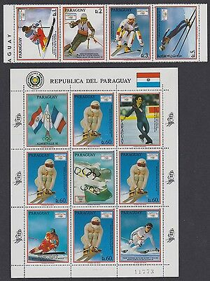 Paraguay Winter Olympic Games Albertville strip of 4v+Sheetlet SC#2323-2324