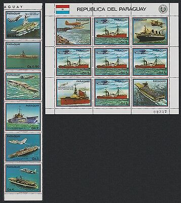 Paraguay Carriers and Airplanes strip of 6v+Sheetlet SC#2088-89
