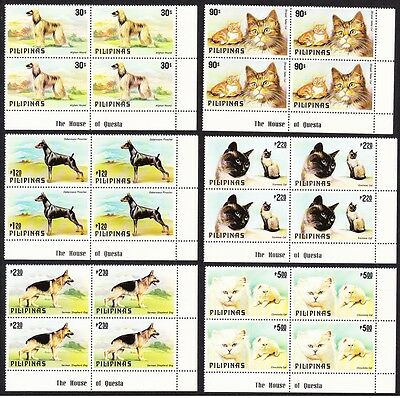 Philippines Cats and Dogs 6v Corner Blocks with Margins SG#1539/44 MI#1306-11