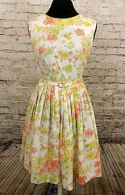 TRUE VINTAGE 1950'S KAY WHITNEY Floral FULL SKIRT DAY DRESS PARTY sz 4