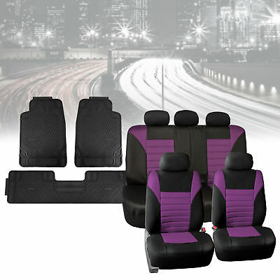 Mesh Car Seat Covers in Purple with Black Floor Mats Heavy Duty Full Set