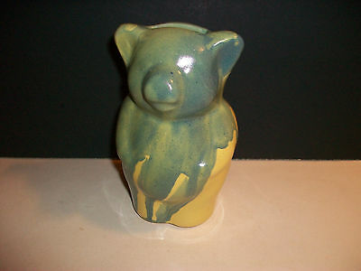 Bybee Pottery Standing Piggy Bank Rare Color Glaze Blue Green Drip With Yellow
