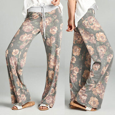 Plus Ladies Floral Yoga Palazzo Trousers Womens Summer Drawstring Wide Leg Pants