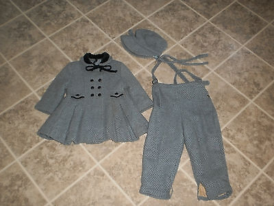 Vintage clothing childs coat, pants and hat, matching set, vintage childrens
