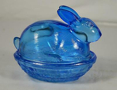 Vintage Blue Glass Bunny Rabbit Sitting on Nest/Basket Candy Dish