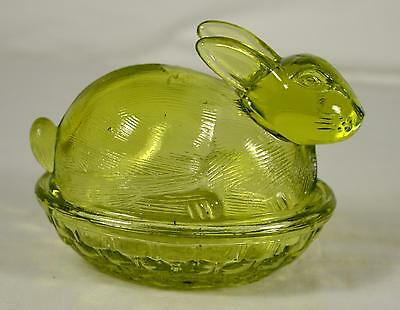 Vintage Green Glass Bunny Rabbit Sitting on Nest/Basket Candy Dish