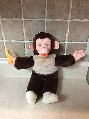 """Vintage Monkey With Banana Plush Stuffed Animal With Plastic Face 15"""" HTF Brown"""