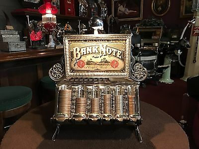 "Original 1800's STAATS Cast Iron Coin Changer Bank w lit Marquee ""Watch Video"""