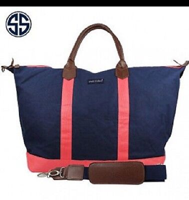 New Simply Southern Canvas Tote Weekender Bag/Overnight Navy/Coral•NWT❗️$39.99