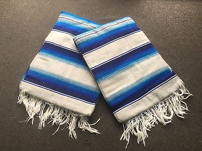 TWO PIECE SERAPE SET ,5' X 7',Mexican Blanket,HOT ROD, Covers, XXL , BLUE & GRAY