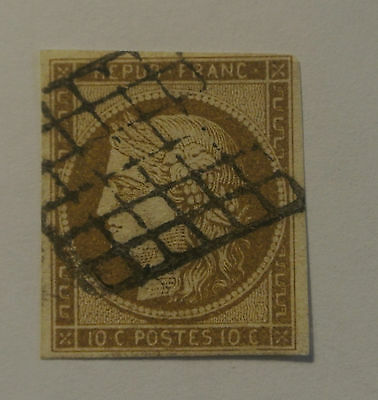 TIMBRE  FRANCE CERES  N° 1 A bistre brun  timbres  n°1