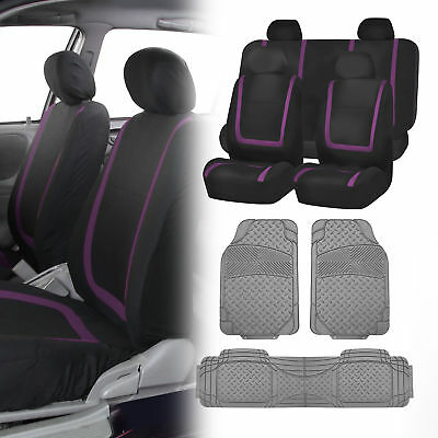 SUV Car Truck Seat Covers Combo Set with Gray All Weather Mats Purple