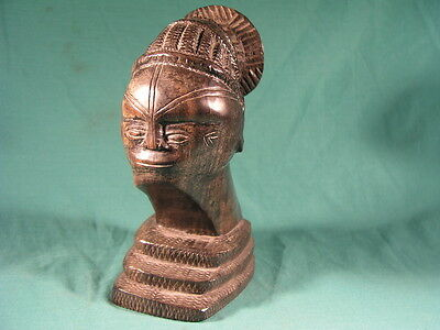 Antique African Hard Wood Carved Bust Figure with Tied up hair Tribal Art