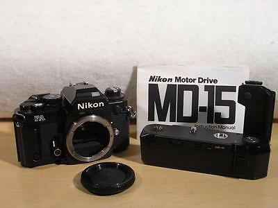 Mint Spotless Black Nikon FA 35mm SLR Film Camera Body + MD-15 Motor