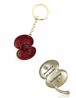 Buckley 2011 Engraved Crystal Poppy Keyring Bag Charm Brand New In Box 40 X 32Mm