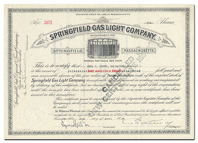 Springfield Gas Light Company Stock Certificate