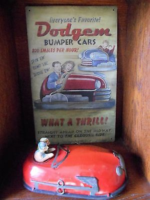"1930s Lindstrom Tin Windup ""Skeeter-Bug"" Bumper Car Toy Vintage + METAL SIGN+Key"