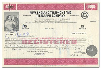 New England Telephone and Telegraph Company Bond Certificate