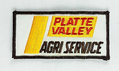 "Platte Valley AGRI Service Farming Vintage Embroidered Sew On Patch 4"" x 2"""