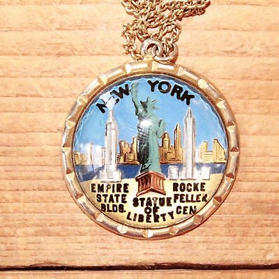 Vintage Reverse Painted Glass NY Souvenir Pendant Empire State Statue of Liberty