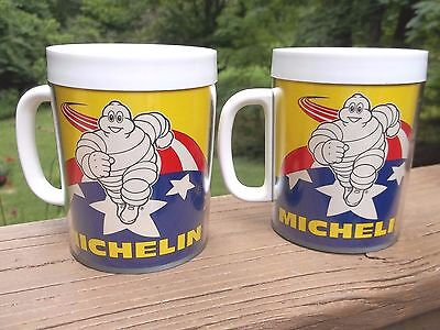 Vintage Michelin Man Thermo-Serv Plastic Mugs Lot of 2 USED