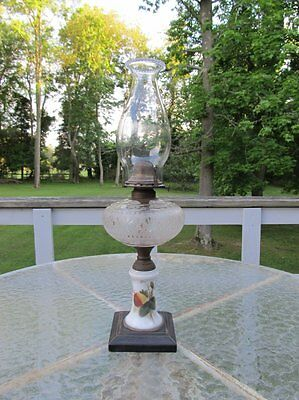 Antique Victorian Strawberry Kerosene Oil Lamp Queen Anne Burner Macbeth Chimney