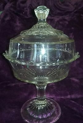 1907 CoOperative Flint Glass EAPG Covered COMPOTE Footed Bowl Ribbed