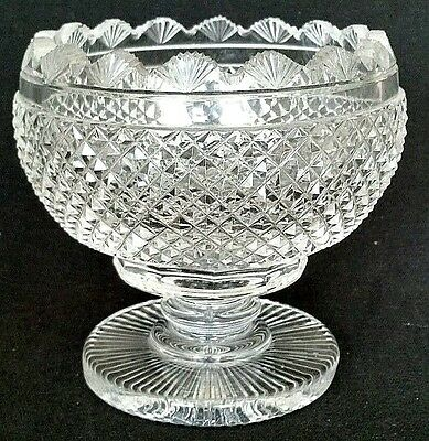 Waterford Signed MasterCut Collection Cut Crystal Vintage Pedestal Rose Bowl