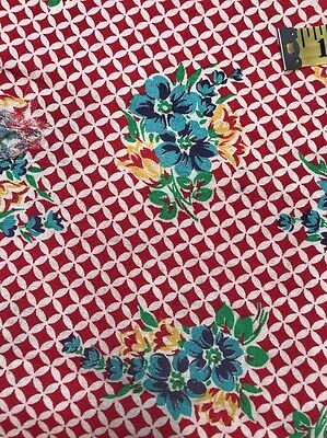 Vintage Feed/Flour Sack Cotton Quilt Fabric Cherry Red Harlequin Blue Floral