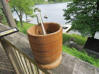 PRIMITIVE ORIGINAL 1800's TREENWARE MORTAR AND GLASS PESTLE TURNED WOOD MORTAR
