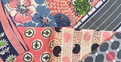 Vintage Feed/Flour Sack Fabric 7 Remnant Pcs Pink NavyBlue Grey Floral/Geo060318