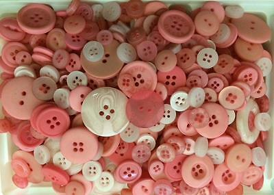BB BUTTONS BULK MIXED LOT pack of 100 PINK sewing craft  acrylic