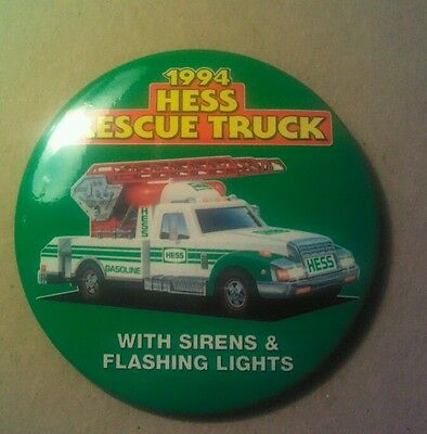 Hess 1994 Toy Rescue Truck Cashier Button Pin Mint Employee Advertising