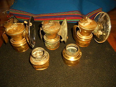 Awesome Estate Find!Three Antique Brass Carbide Miner's Head Lamps-Plus++
