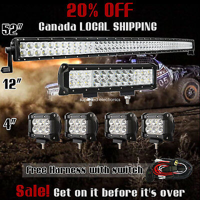 """52Inch Curved LED Light Bar + CREE 12in + 4"""" PODS OFFROAD SUV 4WD FORD JEEP 50"""""""