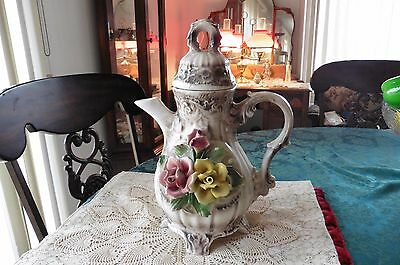 Vintage Huge  Large Italian Capodimonte Pitcher with Roses Made in Italy