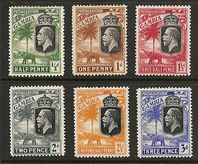 Gambia 102-107 Lightly Hinged George V Elephant,  Free Shipping In Usa