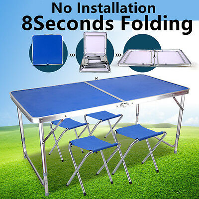 Portable Folding Picnic Table 4 Chairs Lightweight Camping Dining Set