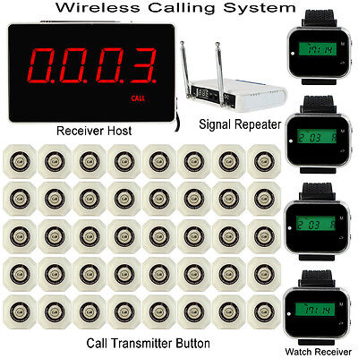 Wireless Calling System & Receiver Host+4*Watch Receiver+Repeater+40*Transmitter